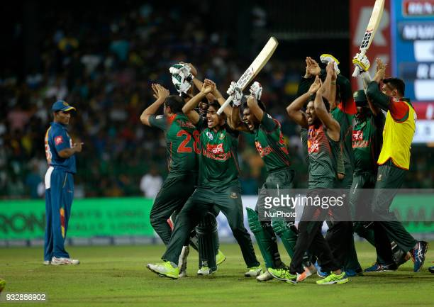 Bangladesh cricketers celebrate after winning the 6th T20 cricket match of NIDAHAS Trophy between Sri Lanka and Bangladesh at R Premadasa cricket...
