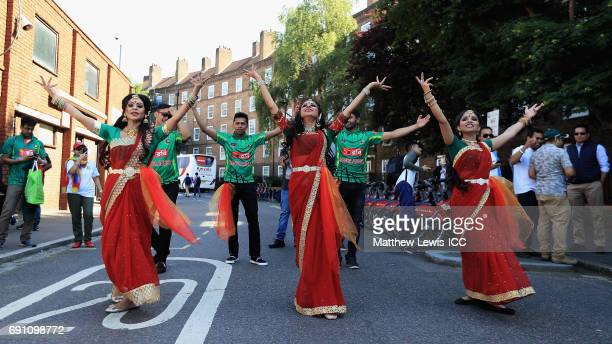 Bangladesh dancers pictured outside the Kia Oval ahead of the ICC Champions Trophy match between England and Bangladesh at The Kia Oval on June 1...