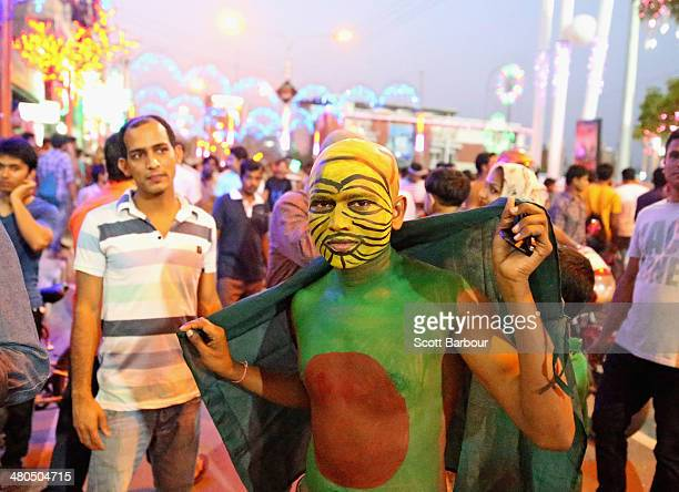 Bangladesh fan arrives at the ground before the ICC World Twenty20 Bangladesh 2014 match between Bangladesh and the West Indies at ShereBangla Mirpur...