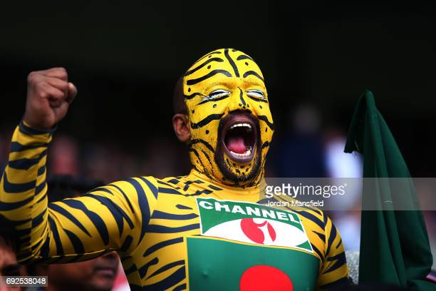 Bangladesh fan cheers during the ICC Champions Trophy match between Australia and Bangladesh at The Kia Oval on June 5 2017 in London England