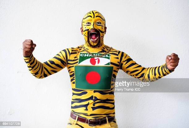 Bangladesh fan in fancy dress poses during the ICC Champions Trophy match between New Zealand and Bangladesh at the SWALEC Stadium on June 9 2017 in...