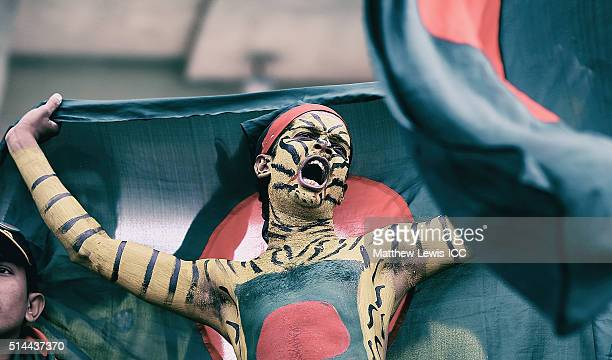 A Bangladesh fan shows his support during the ICC Twenty20 World Cup match between Bangladesh and Netherlands at HPCA Stadium on March 9 2016 in...