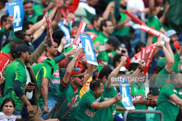 Bangladesh fans celebrate a boundary during the Group Stage match of the ICC Cricket World Cup 2019 between Bangladesh and New Zealand at The Oval on...