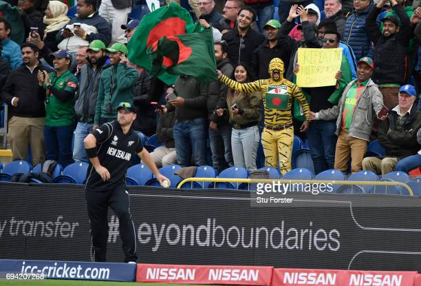 Bangladesh fans celebrate a boundary during the ICC Champions Trophy match between New Zealand and Bangladesh at SWALEC Stadium on June 9 2017 in...