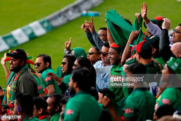 Bangladesh fans cheer on their team during the 2019 Cricket World Cup group stage match between Bangladesh and New Zealand at The Oval in London on...