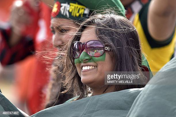 Bangladesh fans show their support during the Pool A 2015 Cricket World Cup cricket match between Bangladesh and Scotland at Saxton Park Oval in...