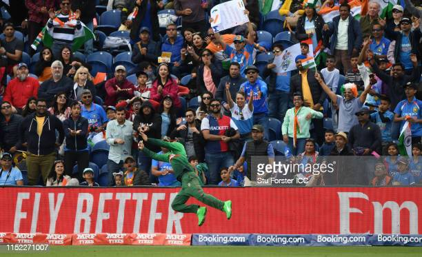 Bangladesh fielder Litton Kumer Das dives in an attempt to take a catch as the India fans react 3during the ICC Cricket World Cup 2019 Warm Up match...