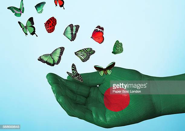 bangladesh flag painted on hand with butterflies - bangladesh flag stock photos and pictures