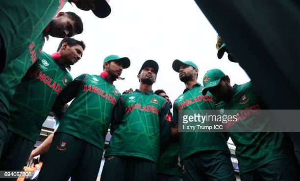 Bangladesh hold a pre match huddle during the ICC Champions Trophy match between New Zealand and Bangladesh at the SWALEC Stadium on June 9 2017 in...