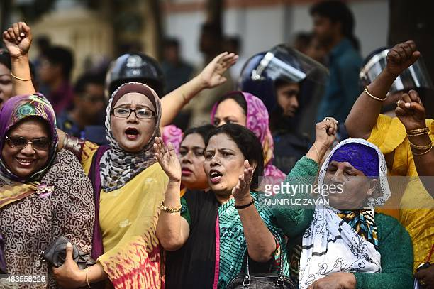 Bangladesh members of the Mohila Awami League women's wing of the ruing Awami League party shout slogans during a demonstration against an ongoing...