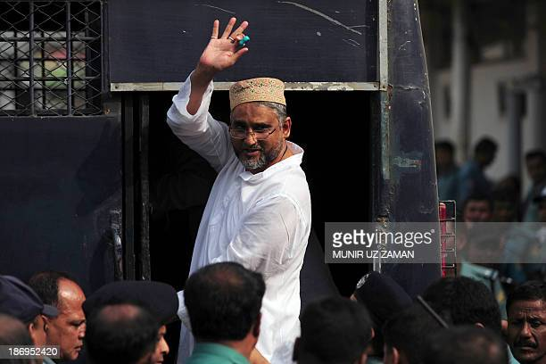 Bangladesh National Party member and former member of parliament Nasiruddin Pintu gestures after receiving a life sentence at the special court in...
