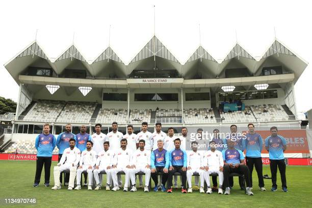 Bangladesh players and coaching staff pose during day four of the second test match in the series between New Zealand and Bangladesh at Basin Reserve...