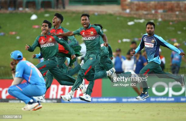 Bangladesh players celebrate following victory during the ICC U19 Cricket World Cup Super League Final match between India and Bangladesh at JB Marks...