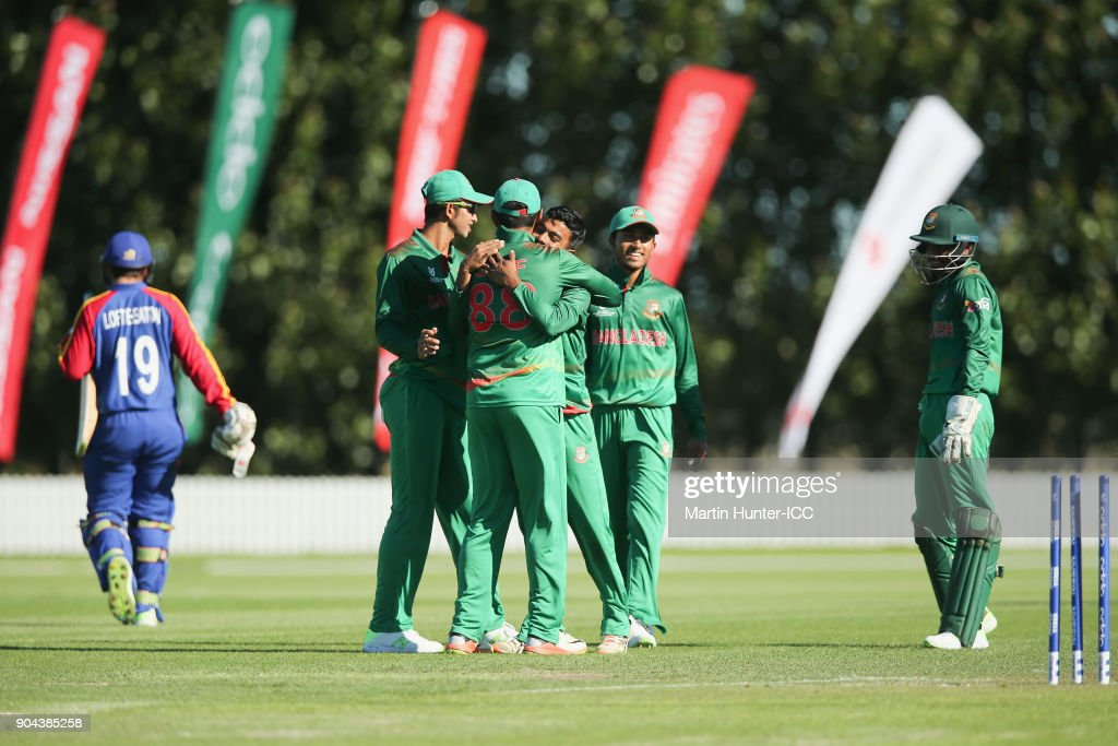 Bangladesh players celebrate the wicket of Nicol Loftie-Eaton of Namibia for 24 runs during the ICC U19 Cricket World Cup match between Bangladesh and Namibia at Bert Sutcliffe Oval on January 13, 2018 in Christchurch, New Zealand.
