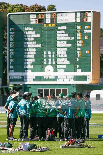 Bangladesh players form a huddle on day five of the First Test match between New Zealand and Bangladesh at Basin Reserve on January 16 2017 in...