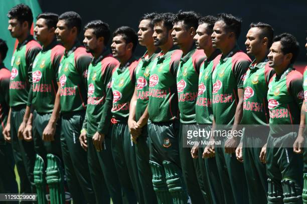 Bangladesh players line up for national anthems before Game 1 of the One Day International series between New Zealand v Bangladesh at McLean Park on...