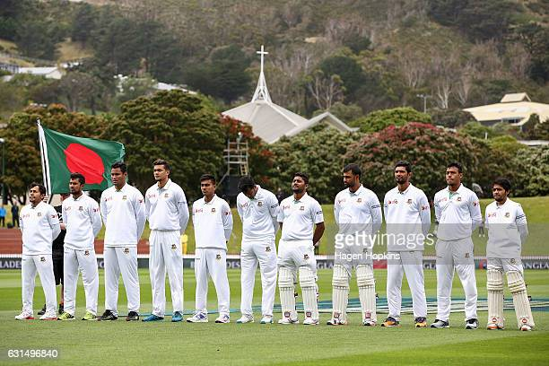 Bangladesh players sing the national anthem during day one of the First Test match between New Zealand and Bangladesh at Basin Reserve on January 12...