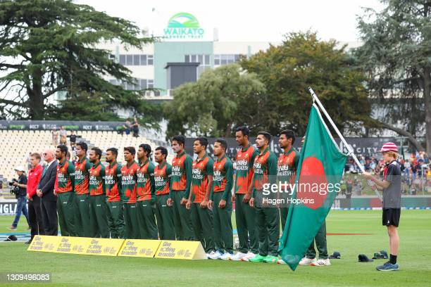 Bangladesh players sing the national anthem during game one of the International T20 series between New Zealand and Bangladesh at Seddon Park on...