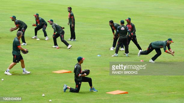 Bangladesh players take part in a training session one day ahead of the 1st ODI match between West Indies and Bangladesh at Guyana National Stadium...