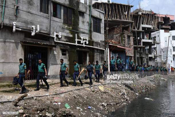 Bangladesh police conduct a drive against narcotics in Dhaka on June 5 2018 More than 100 alleged drug dealers have been killed and thousands...