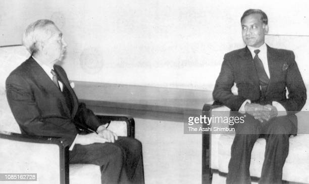 Bangladesh President Ziaur Rahman and Emperor Hirohito talk during the meeting after the funeral of late Prime Minister Masayoshi Ohira at the...