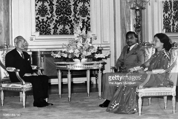 Bangladesh President Ziaur Rahman and his wife tKhaleda Zia takl with Emperor Hirohito during the farewell meeting at the Akasaka State Guest House...