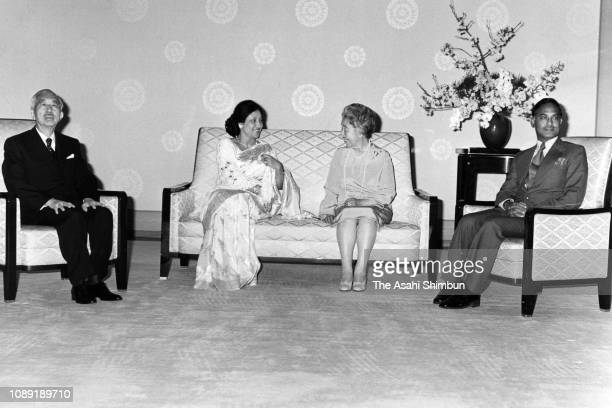 Bangladesh President Ziaur Rahman and his wife tKhaleda Zia talk with Emperor Hirohito and Empress Nagako during their meeting at the Imperial Palace...