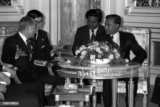 Bangladesh President Ziaur Rahman and Japanese Prime Minister Takeo Fukuda talk during their meeting at the Akasaka State Guest House on April 6 1978...