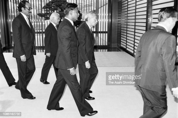 Bangladesh President Ziaur Rahman is escorted by Emperor Hirohito prior to their meeting after the funeral of late Prime Minister Masayoshi Ohira at...