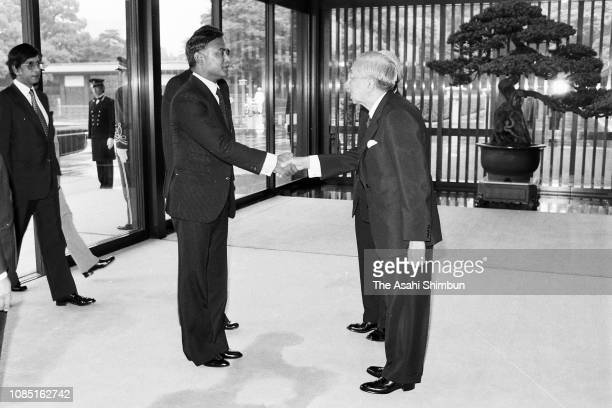 Bangladesh President Ziaur Rahman is welcomed by Emperor Hirohito prior to their meeting after the funeral of late Prime Minister Masayoshi Ohira at...