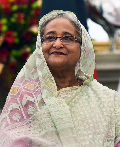 Bangladesh Prime Minister Sheikh Hasina after bilateral talks with Prime Minister Narendra Modi at Hyderabad House on October 5 2019 in New Delhi...