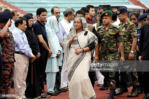 Bangladesh Prime Minister Sheikh Hasina attends a memorial ceremony to commemorate the victims of the terror attack at a restaurant on July 4 2016 in...
