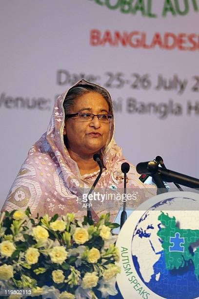 Bangladesh prime minister Sheikh Hasina delivers a speech at the first-ever international conference on autism in Dhaka on July 25, 2011. The two-day...