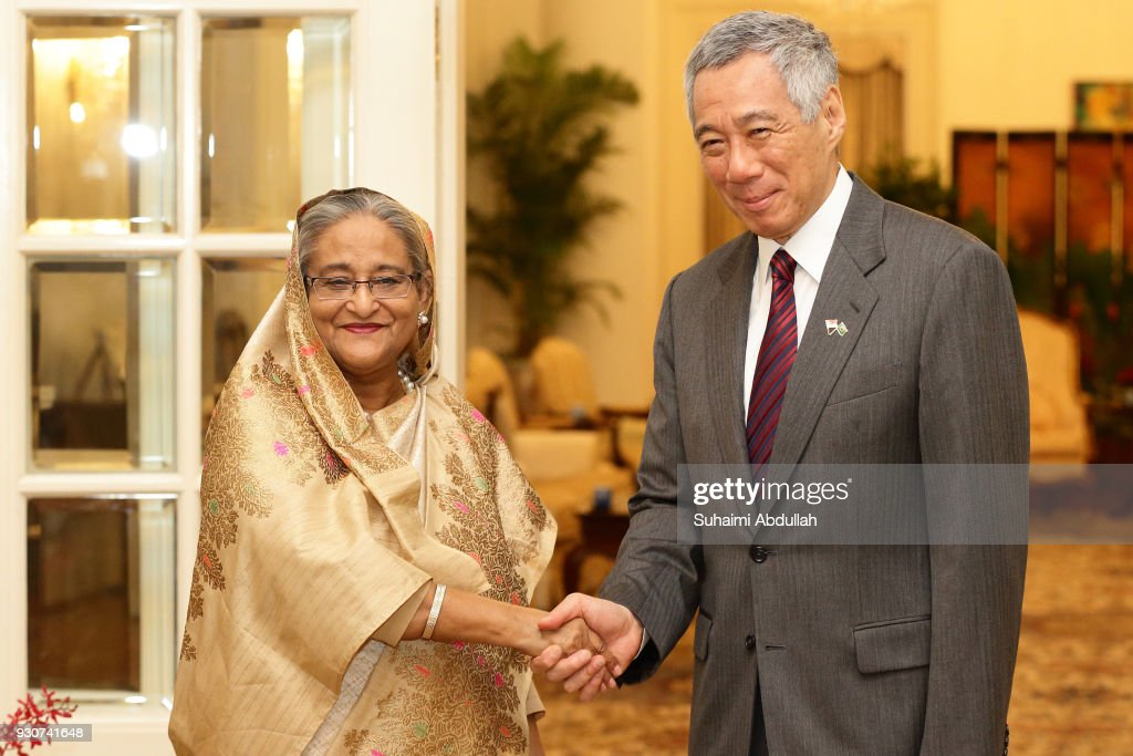 Bangladesh Prime Minister Sheikh Hasina (L) meets with Singapore Prime Minister, Lee Hsien Loong at the Istana on March 12, 2018 in Singapore. Sheikh Hasina is on a four-day official visit to Singapore.