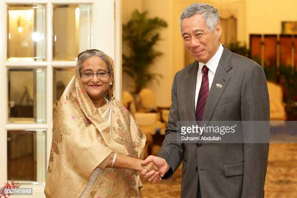 Bangladesh Prime Minister Sheikh Hasina meets with Singapore Prime Minister Lee Hsien Loong at the Istana on March 12 2018 in Singapore Sheikh Hasina...