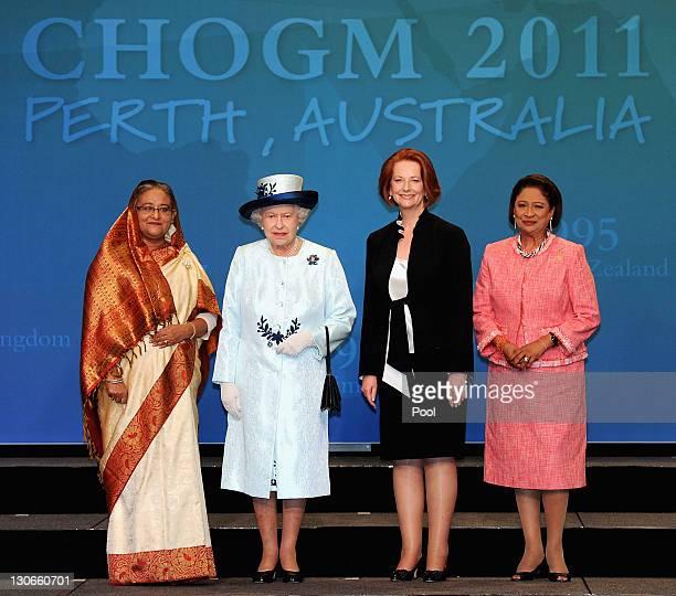 Bangladesh Prime Minister Sheikh Hasina Queen Elizabeth II Australian Prime Minister Julia Gillard Trinidad and Tobago Prime Minister Kamla...