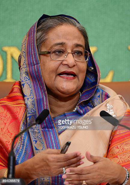 Bangladesh Prime Minister Sheikh Hasina speaks at Japan's national press club in Tokyo on May 28 2014 Hasina is on a fourday visit to Tokyo as a...