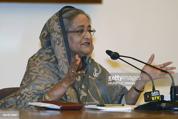 Bangladesh Prime Minister Sheikh Hasina speaks during a press conference in Dhaka on May 31 2014 The prime minister spoke about her tour to Japan...