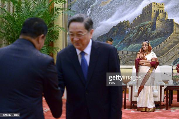 Bangladesh Prime Minister Sheikh Hasina waits to meet with Chairman of the National Committee of the Chinese People's Political Consultative...