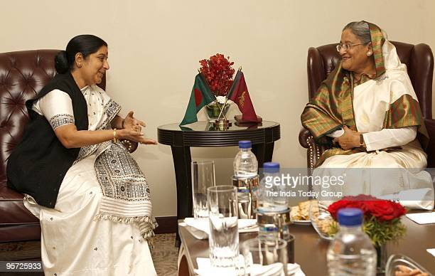 Bangladesh Prime Minister Sheikh Hasina with BJP leader Sushma Swaraj at the ITC Maurya Hotel in New Delhi on Monday January 11 2010