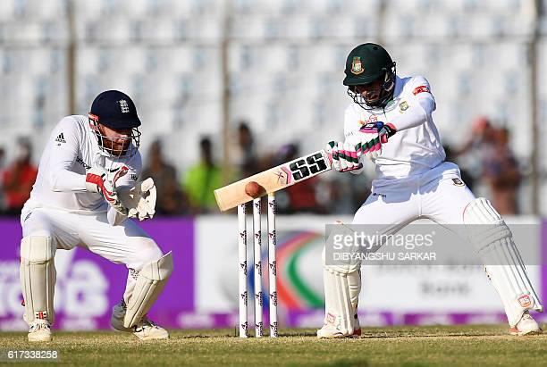 Bangladesh' Sabbir Rahman plays a shot during the fourth day of the first Test match between Bangladesh and England at Zahur Ahmed Chowdhury Cricket...