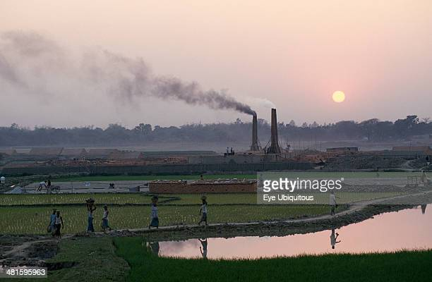 Bangladesh Savar Laborers returning to brick kiln through paddy fields with chimneys releasing trail of thick smoke