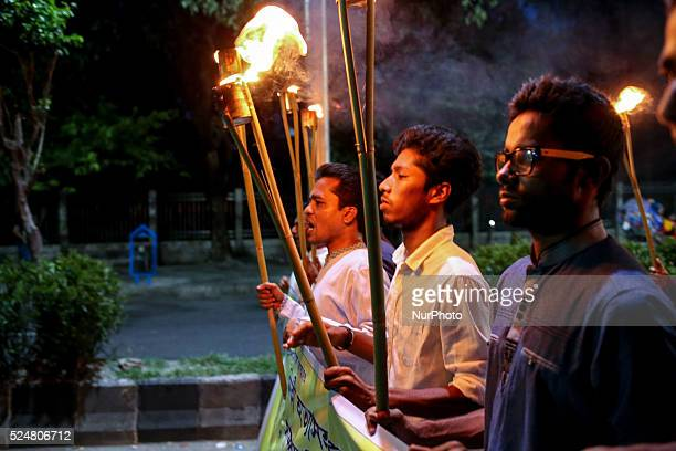 Bangladesh Student Union arrange a torch procession to protest killing free thinkers like blogger writter teacher in Dhaka Bangladesh on April 26...