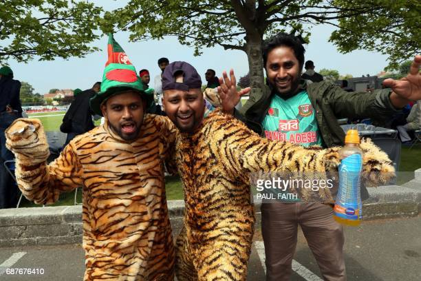 Bangladesh supporters arrive ahead of the TriSeries one day international cricket match between Bangladesh and New Zealand at Clontarf cricket ground...