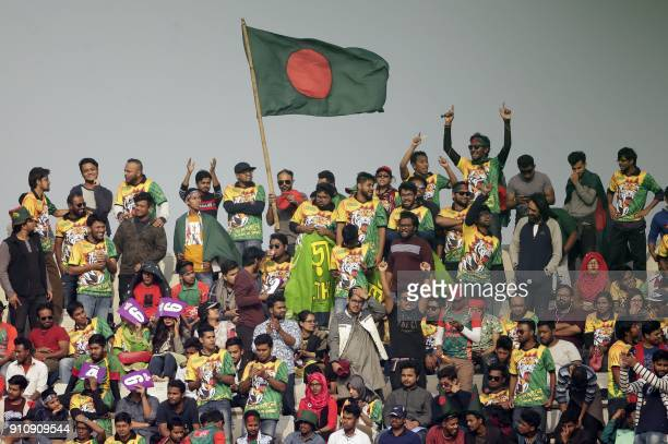 TOPSHOT Bangladesh Supporters celebrate during the final one day international match in the TriNations Series between Bangladesh and Sri Lanka at the...