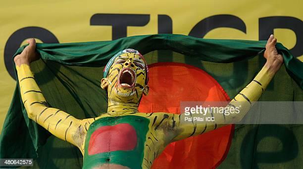 Bangladesh supporters during the ICC Women's World Twenty20 match between West Indies Women and Bangladesh Women played at Sylhet International...