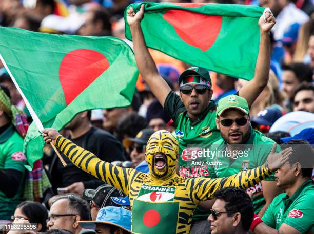 Bangladesh supporters enjoying the match atmosphere during the Group Stage match of the ICC Cricket World Cup 2019 between Bangladesh and India at...