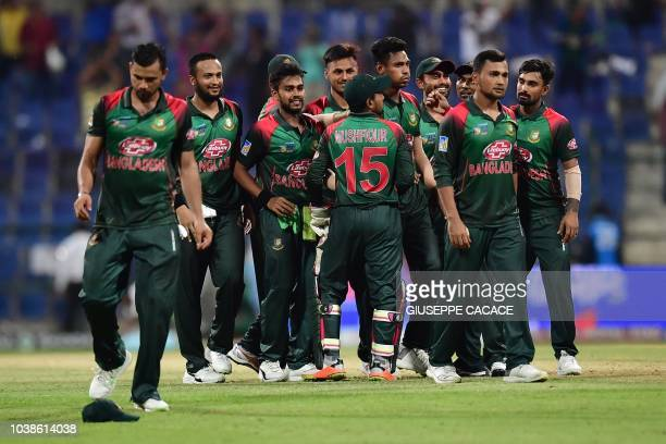 Bangladesh team celebrates the victory during the one day international Asia Cup cricket match between Afghanistan and Bangladesh at The Sheikh Zayed...