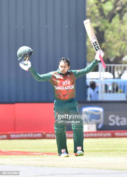 Bangladesh wicketkeeper batsman Mushfiqur Rahim reacts during the first One Day International cricket match between South Africa and Bangladesh in...