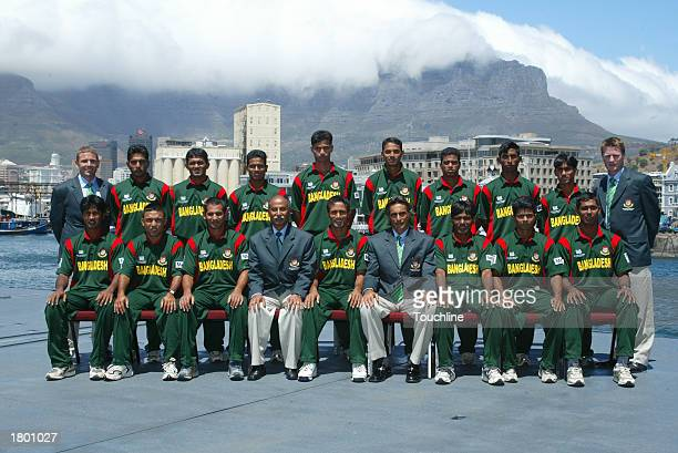 Bangladesh World Cup Squad pose for a team group shot onboard a South African Naval ship on February 8 2003 at Cape Town Harbour before the start of...